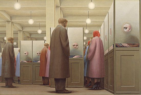 George Tooker made this specific scene look like it went on and on.  This was achieved in a few ways, one being overlapping.  When you put people in front of other people, it creates a sense of depth and distance.  Tooker also spaced everything in this piece very closely together.