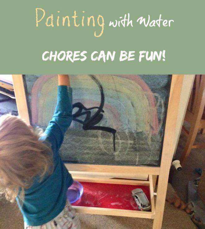 Painting with Water – A Fun Toddler Chore