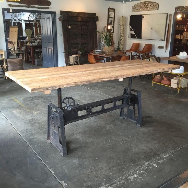 Cast Iron Table base, adjustable in height, with Recycled Victorian Ash timber table top