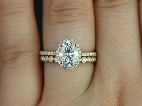 Rebecca & Petite Bubbles 14kt Yellow Gold Oval FB Moissanite and Diamond Halo Wedding Set (Other metals and stone options available)