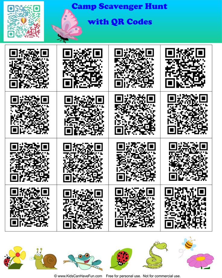 Camp Scavenger Hunt with QR Codes. Scan each code to reveal the image for the hunt http://www.kidscanhavefun.com/qr-codes-for-kids.htm #scavengerhunt #qrcode #kidsactivities