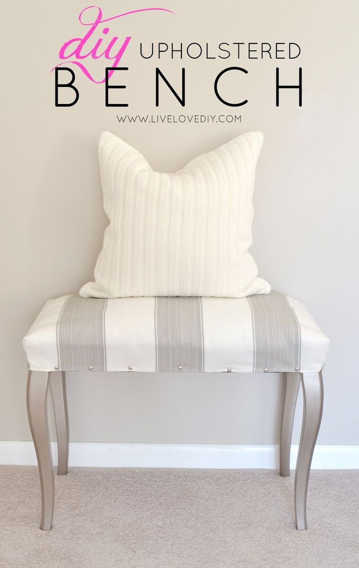 DIY upholstered striped bench. This was made from a thrift store piano bench! So many cool ideas in this post.