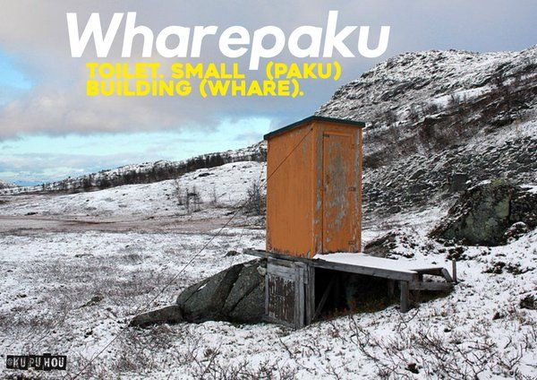 Wharepaku - toilet. Small (paku) building (whare).
