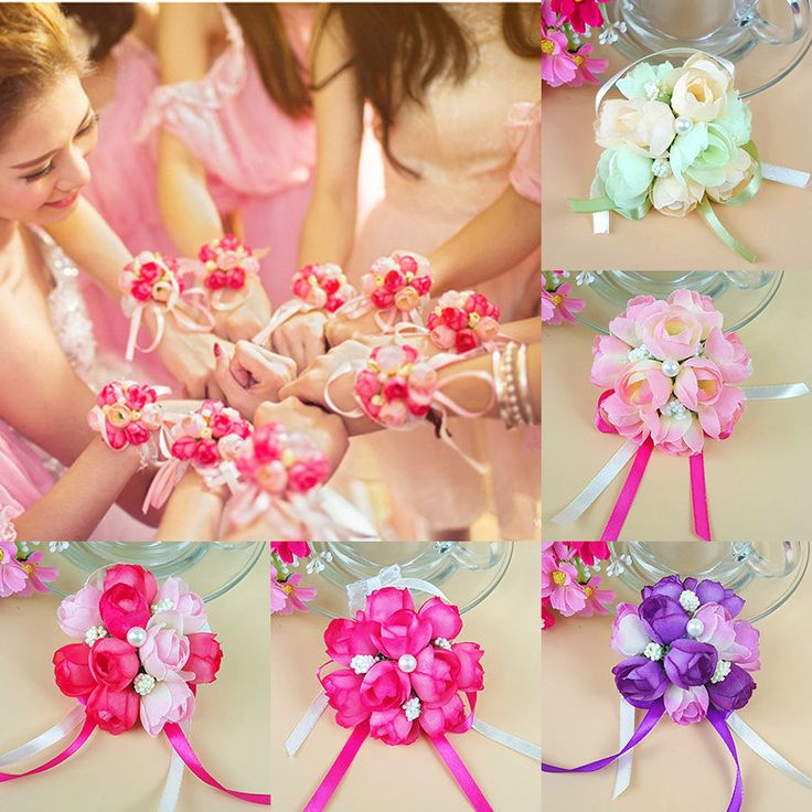 5pcs Bridesmaid Wedding Prom Bridal Wrist Corsage Hand Flower Bracelet Bride Dec #Unbranded