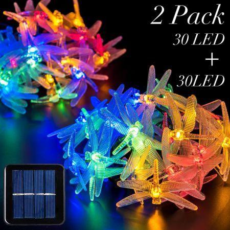 2 Packs Solar Strings Lights, GIGALUMI 20 Feet 30 LED Dragonfly
