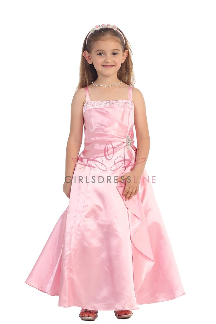 Pink Brilliant Satin Ruffle Detail mA-line Flower Girl Dress with Sparkles Mady