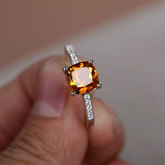 Natural Citrine Ring Sterling Sivler Ring Yellow Quartz Crystal Gemstone Ring Engagement Ring Promise Ring For Her Wedding Ring