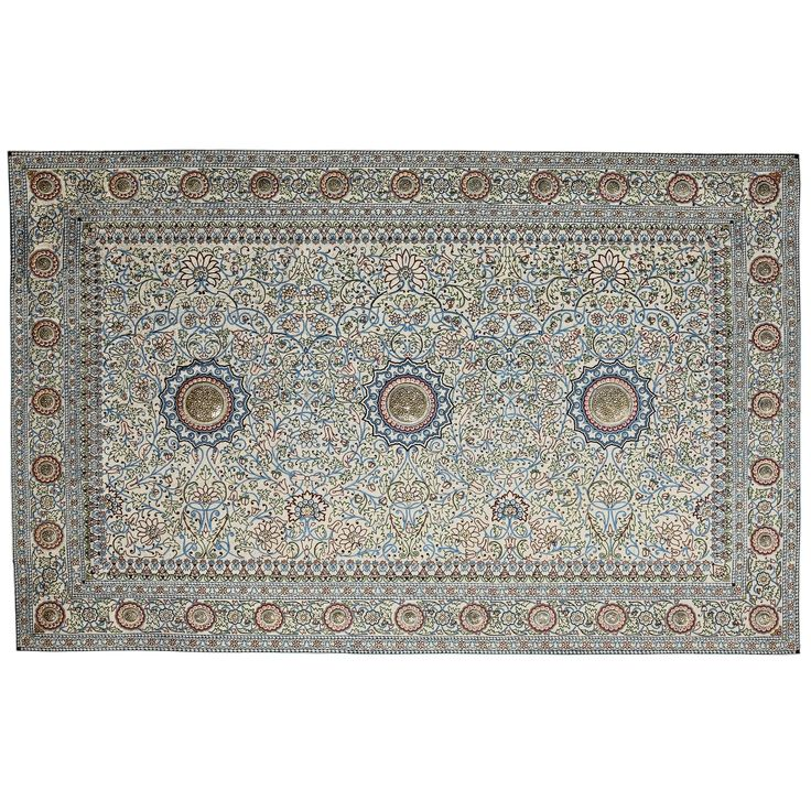Made in India with hundreds of rubies, sapphires, diamonds & an estimated 1,500,000 Basra pearls, the famed Baroda Pearl Carpets form one of the most glorious treasures symbolic of Indian Royalty. Looted from India by Ranjitsinh Gaekwar & taken to Sita Devi in Paris, the Carpets vanished from public view. Years after the Maharani's death, in 1994 one of the four Pearl Carpets was found in a Geneva vault. [This carpet sold at Sotheby's for 5.5 million USD.}