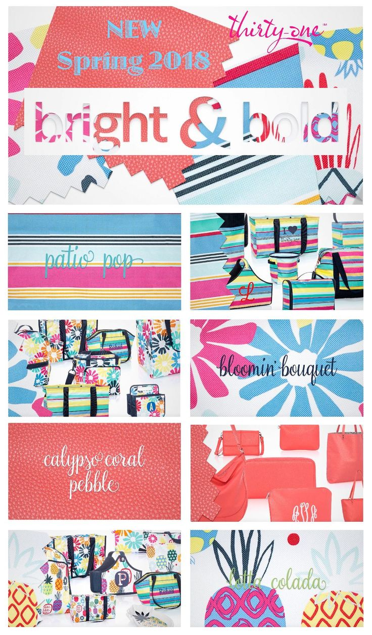 #31 BRIGHT AND BOLD colors from Thirty-One Gifts this Spring and Summer 2018… Patio Pop, Bloomin' Bouquet, Lotta Colada, Calypso Coral Pebble joins Pink Crosshatch for a great colorful collection. These new prints go well with existing Skies For You Pebble and more. Find these prints and others at MyThirtyOne.Com/PiaDavis or find your consultant in the upper right corner of the website.