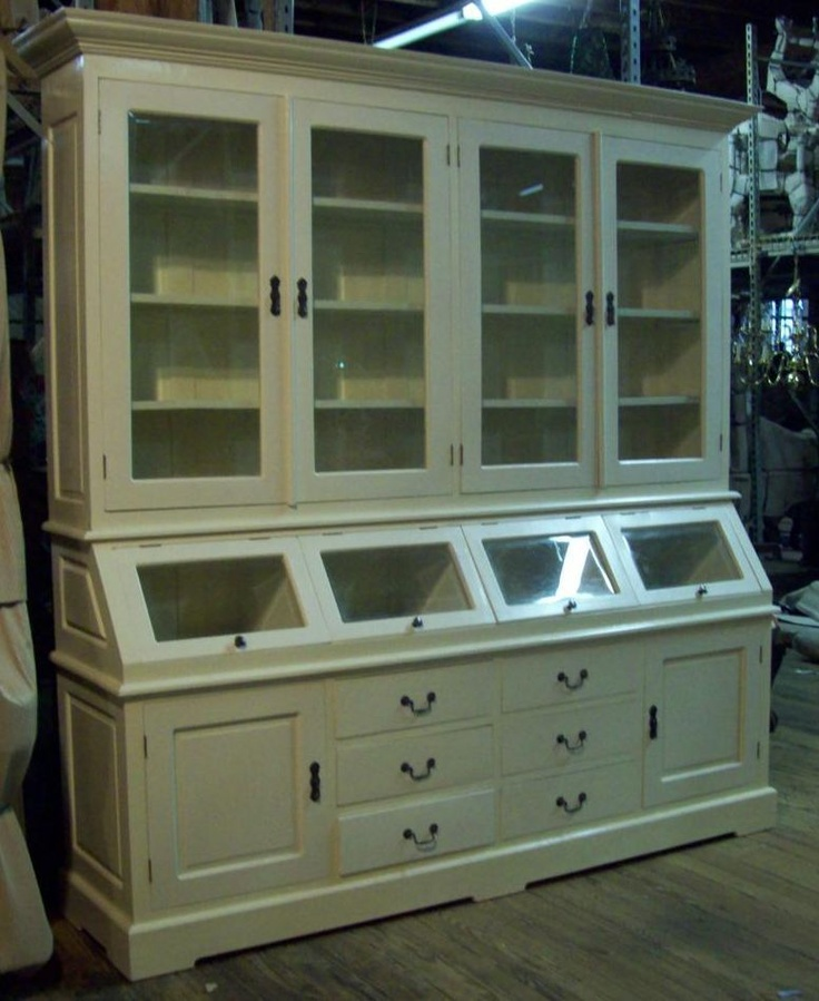White Kitchen Buffet: Large Off White Kitchen Hutch Cabinet Cupboard Buffet