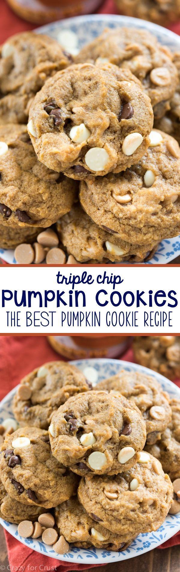 Triple Chip Pumpkin Cookies