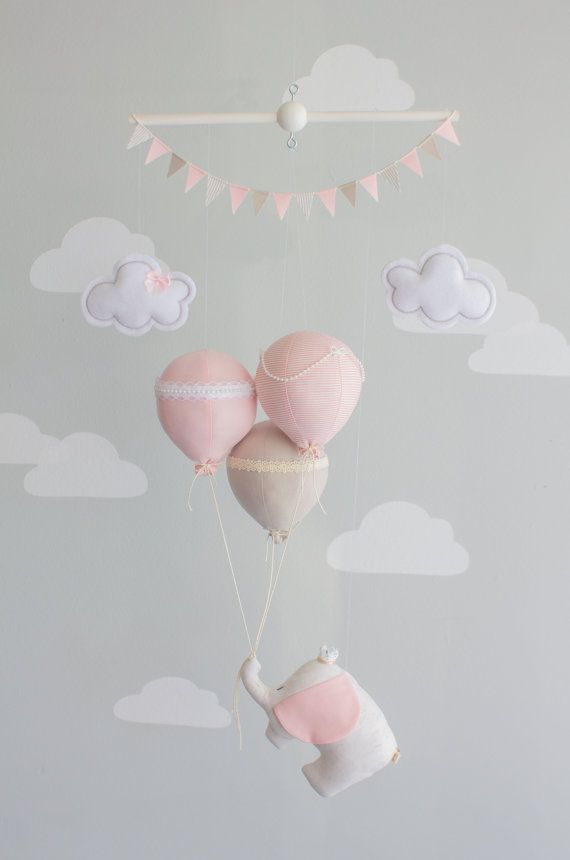 Pink, Taupe and Ivory elephant and balloon baby mobile for your nursery décor. A miniature circus elephant floating with 3 balloons is an