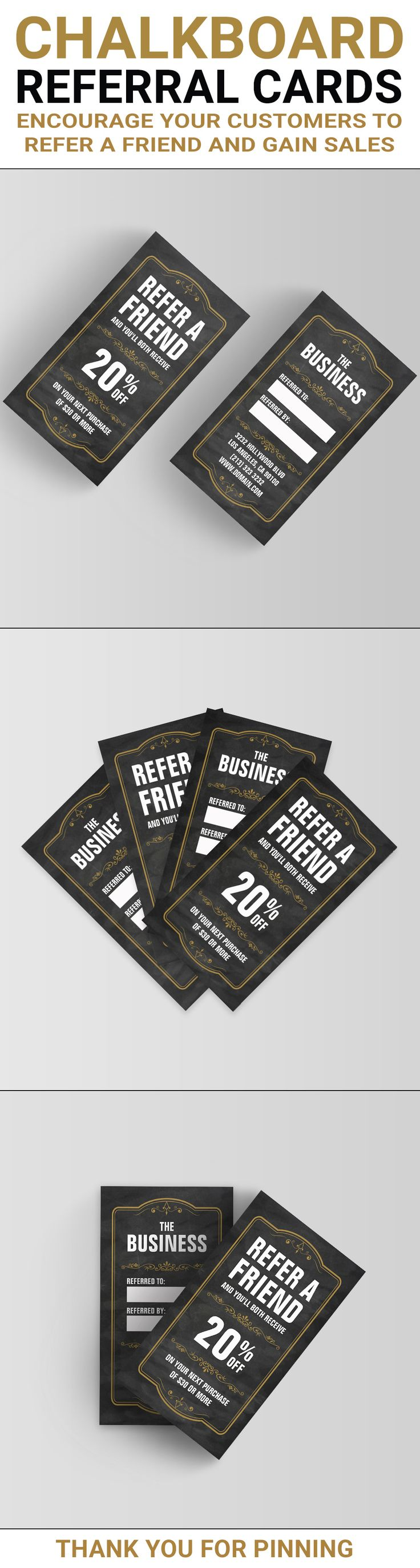 "Refer a Friend Referral Cards. Encourage your customers to refer a friend and generate more sales by offering a discount on one of your products or services. The referral card design shows a chalkboard like background with a clay colored floral frame and floral elements. The chalkboard referral cards come in the same size as a standard business card of 3.5"" x 2"". Check it out and  customize it to fit your needs. This chalkboard refer a friend referral card was created by J32 Design"