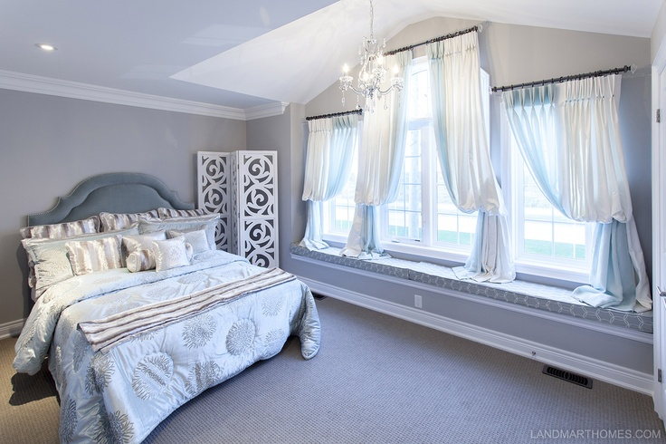 Silver elements brighten up this bedroom in Penny Lane Estates. By Landmart Homes. Stoney Creek, Ontario. #hamont #bedroomideas