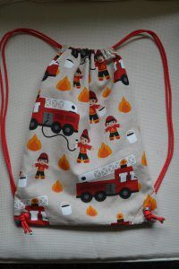 DIY Pull String Backpack for the Kids Firetruck, firefighter Made by FabRita