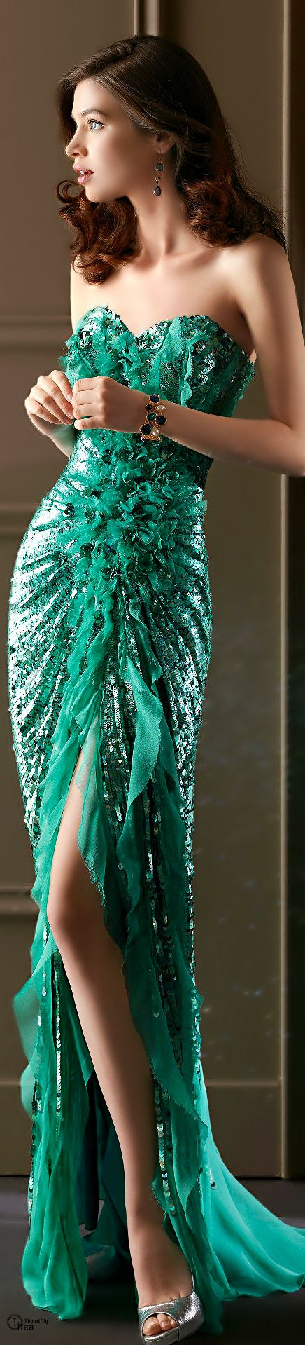 glamour gown in green