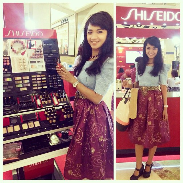 Attend SHISEIDO launch at Kota Kasablanka Mall, Jakarta...  this kannah skirt is really gorgeous!! love the royal belt with the stone as well... shoes by iwearUP watch by CASIO Indonesia.. bag by H&M Malaysia..  have a good day!!