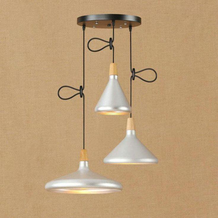Funnel Shaped Aluninum wood pendant lights for Bar Restaurant Lustres E Pendentes vintage Golden Silver Lampshade Hanging lamps