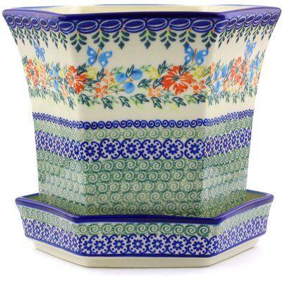 August Grove Lampron Stoneware Pot Planter Pottery Pot Polish Pottery Stoneware Pot