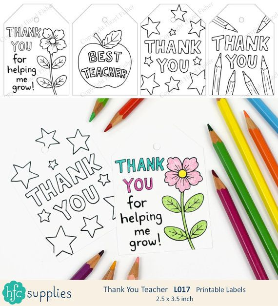 Thank you Teacher Labels  Printable sheet of 8 labels - 4 different designs.  Teach Appreciation, Thank you Teacher, Teaching Assistant or Tutor.  Instant Download. Design by hfcSupplies Etsy.