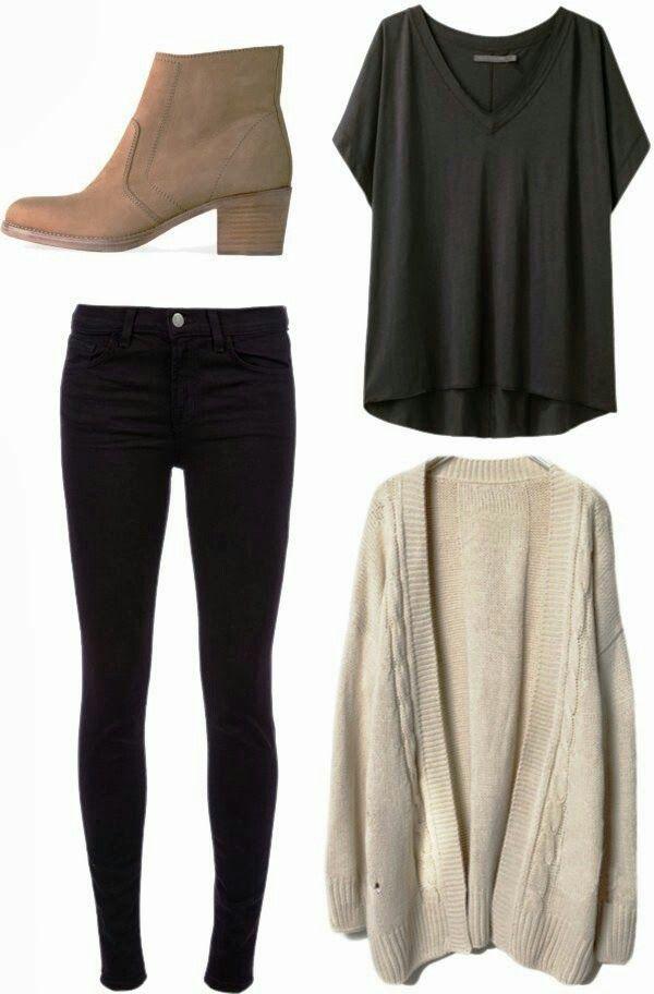 Business casual work outfit: beige cardigan, black tee, black skinnies, brown booties.