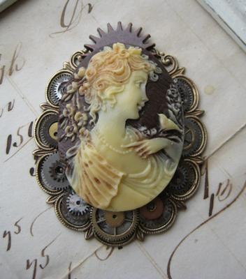 Steampunk cameo brooch