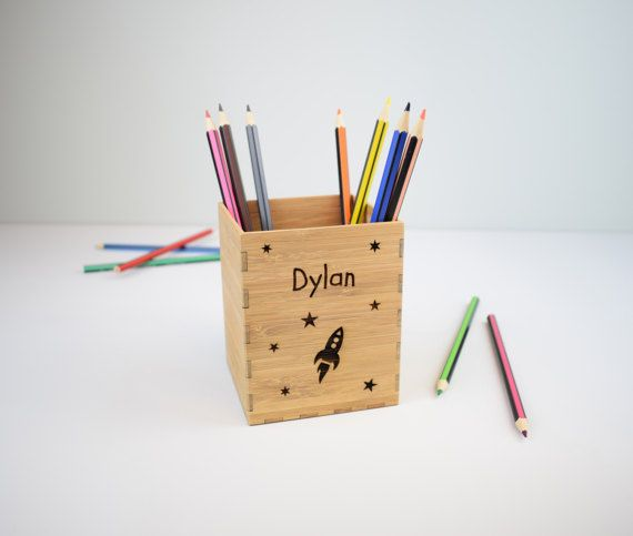 Kids Pencil Holder Childrens Pen Pot Personalised by BeamDesigns