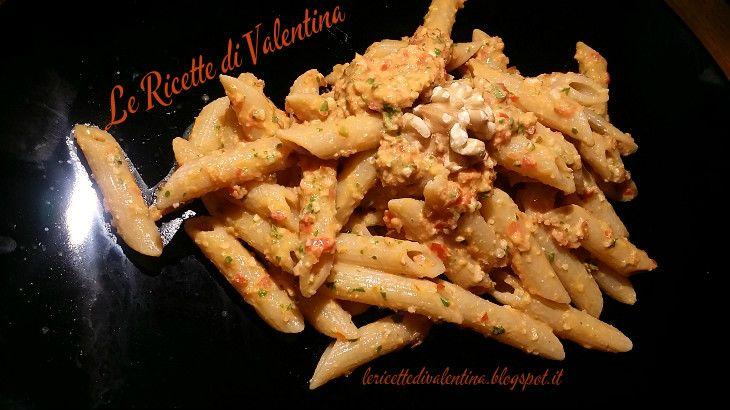 Le Ricette di Valentina: Pennette integrali al pesto rosso con noci senza formaggio