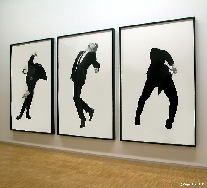 Robert Longo, Men in the Cities, 1981. He would have models come in, have balls thrown at them, and then take a picture. He liked the idea of physical distortion because he felt it was connected to an inner distress.