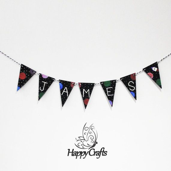 Personalised Wooden Bunting Space Rocket Black by HappyCraftsx