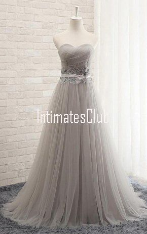 371415b0cb8 Gray Princess Sweetheart Tulle Sweep Train Sashes Ribbons Lace Up Prom Dress