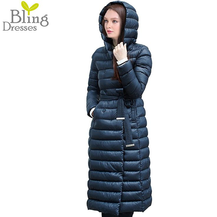 2016 Winter Women's Jacket Down Coat Anorak White Duck Down with Belt Longer Section Knee Hooded Double Breasted Jackets