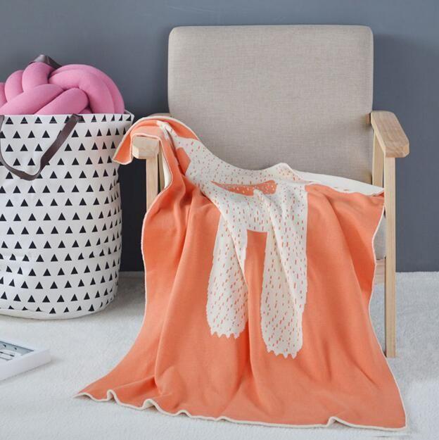 Kids Cotton Blanket Orange Pink Grey Children's Throw Blanket Sofa Cotton High Quality Throw Blanket Home Decor