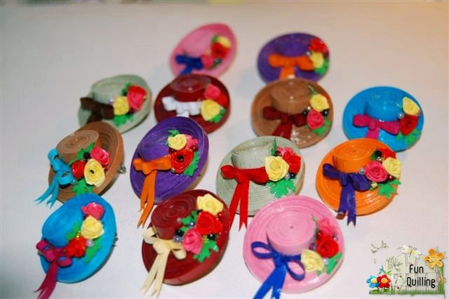 Miniature Quilled Hats