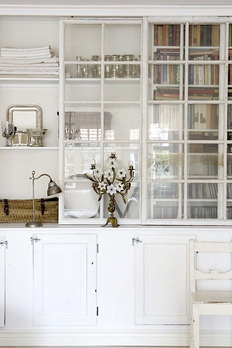 glass front doors + pretty vignettes