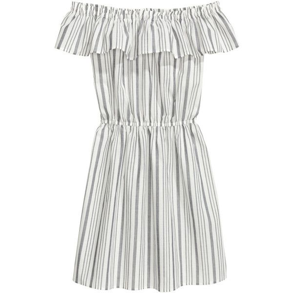 Off-Shoulder-Kleid 24,99 (230 GTQ) ❤ liked on Polyvore featuring dresses, white day dress, white off the shoulder dress, short dresses, flutter-sleeve dress and white cotton dress