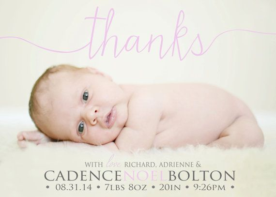 Thank you Birth Announcement Photo Card  Baby Girl by babybaloo