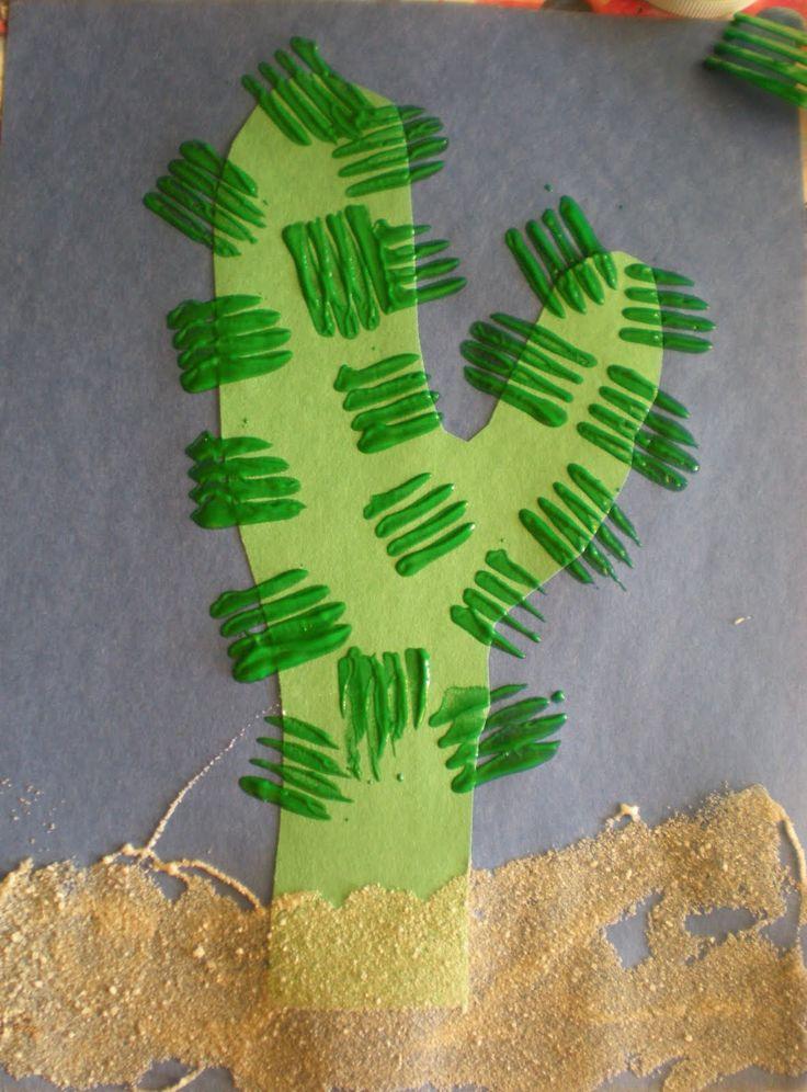 Fork cactus painting. - Preschool Playbook: July 2010 | C, cactus, plants, desert