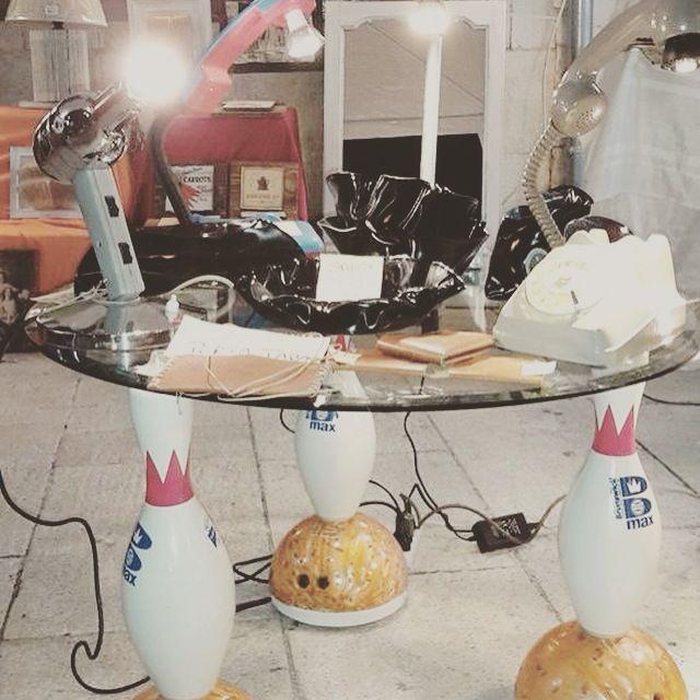 #ecologic #riciloeriuso tavolino basso con birilli da bowling