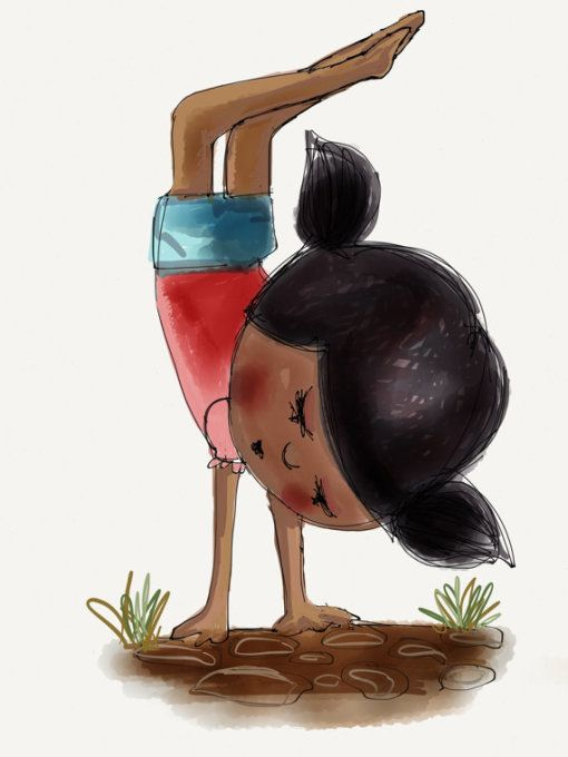 Ajayi's work would be great in a kid's room. Girl doing handstand by Beatrice Ajayi