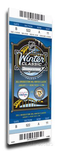 2011 NHL Winter Classic Mega Ticket - Capitals vs Penguins Stretched Canvas Print