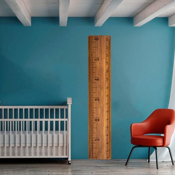 Traditional Growth Chart removable wall decal from Print4One. Easy-to-use, peel and stick decal. Accurate 6 foot tall ruler to track growth! Great for a kid's room. This is a vivid and high definition image.
