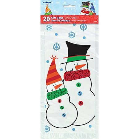 Snowman Buddies Holiday Cello Bags, 20-Count