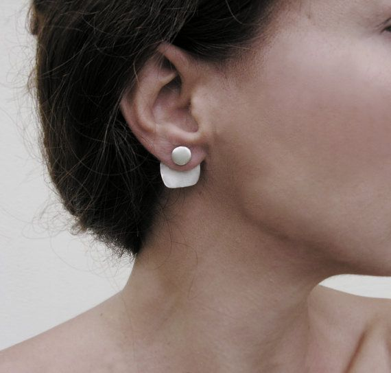 Geometric ear jackets, sterling silver, front and back earrings, minimalist design, everyday jewelry Inspired from geometry, the design follows the lines of the face which make it look elegant and classy. A minimalist set of earrings that you can wear either as ear jackets or just the pebble studs. Put on the stud, thread the square part through behind the earlobe, and close with the stopper behind the plate. You can use the square back part with any stud earrings you already have. Mix and…