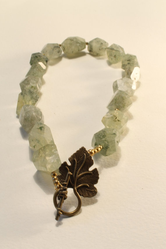 Chunky Prehnite185 necklace by HavenHummingbird on Etsy, $65.00