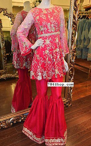 Hot Pink Chiffon Suit | Buy Threads and Motifs Pakistani Dresses and Clothing online in USA, UK