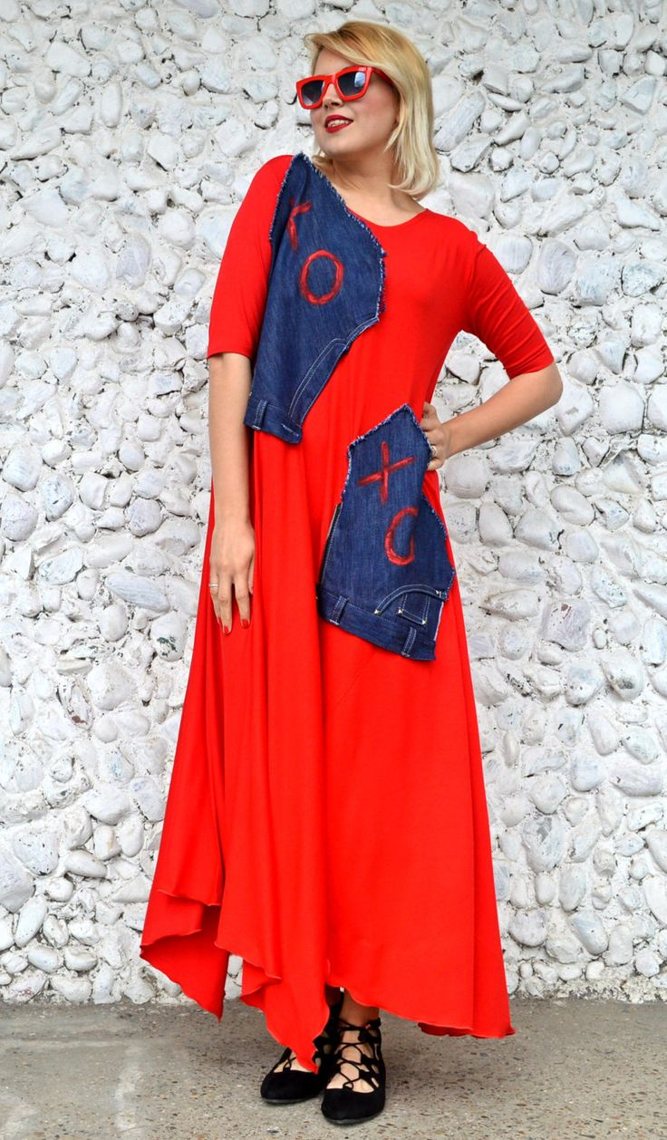 Now selling: Extravagant Red Dress, Long Flared Red Dress with Denim Hand Painted Insets, Red Summer Dress TDK248 The FRENCH KISS https://www.etsy.com/listing/507224206/extravagant-red-dress-long-flared-red?utm_campaign=crowdfire&utm_content=crowdfire&utm_medium=social&utm_source=pinterest