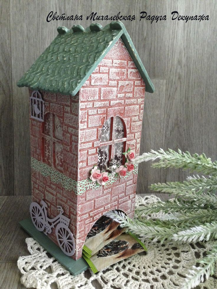 Купить чайный домик для пакетиков Розы хранение чая декупаж - оранжевый зеленый, чайный домик