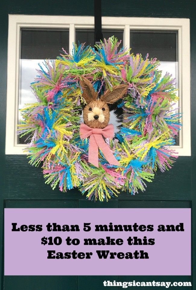 How to make an Easter wreath. Easy Easter wreath you can make in less than 5 minutes for under $10!