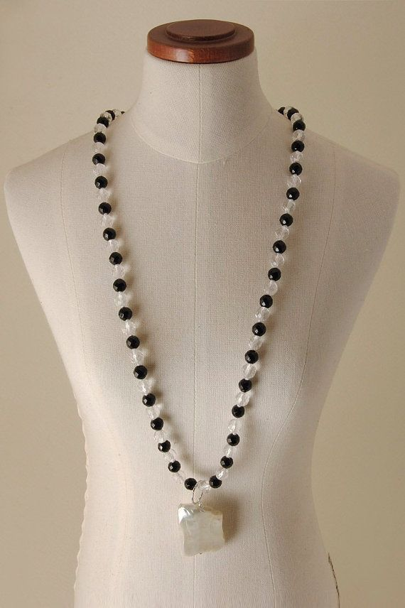Pearls, Quartz, Onyx and 925% Silver necklace
